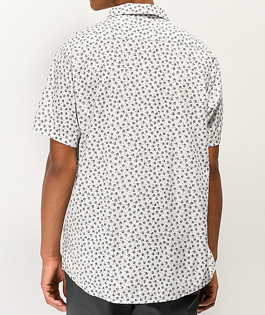 RVCA Lux Ficus White Short Sleeve Button Up Shirt
