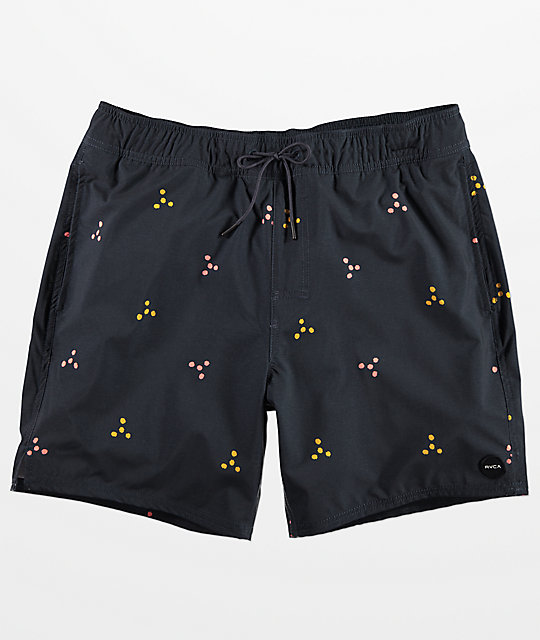 RVCA Middle Navy Print Elastic Waist Board Shorts