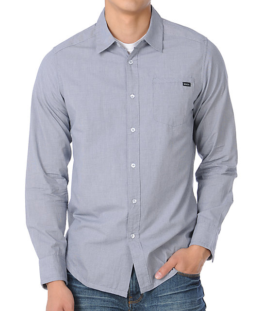 RVCA Mini Blue Grey Long Sleeve Woven Shirt