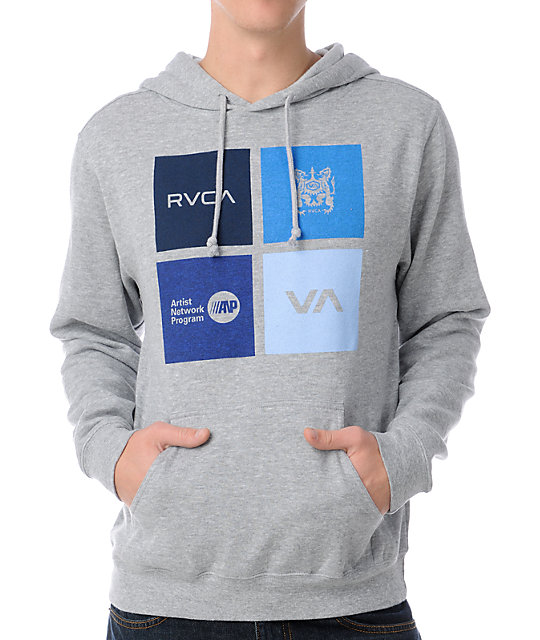 RVCA Multiply Heather Grey Pullover Hoodie