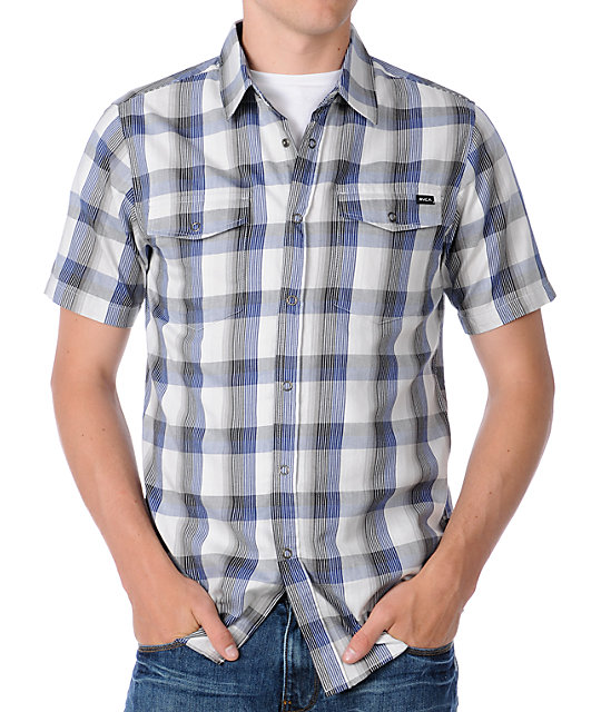 RVCA Noah Blue Plaid Short Sleeve Woven Shirt