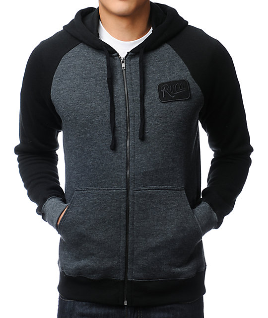 RVCA Overtime Black & Charcoal Zip Up Hoodie