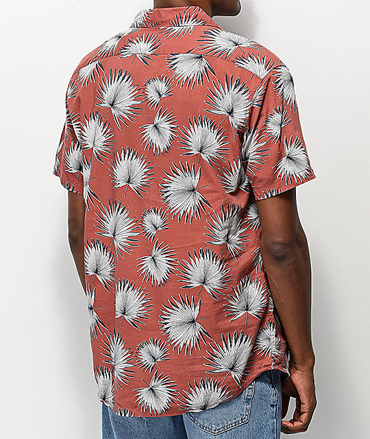 RVCA Palms Red Short Sleeve Button Up Shirt