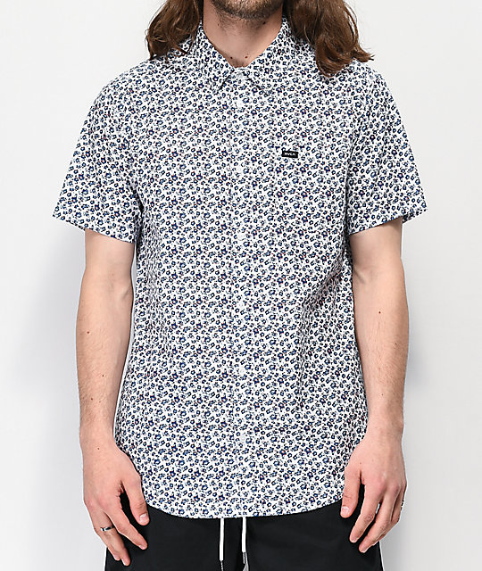 Rvca Porcelain White Short Sleeve Button Up Shirt by Rvca