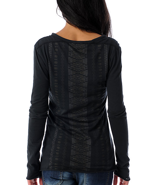RVCA Precilla Ghost Chant Black Henley