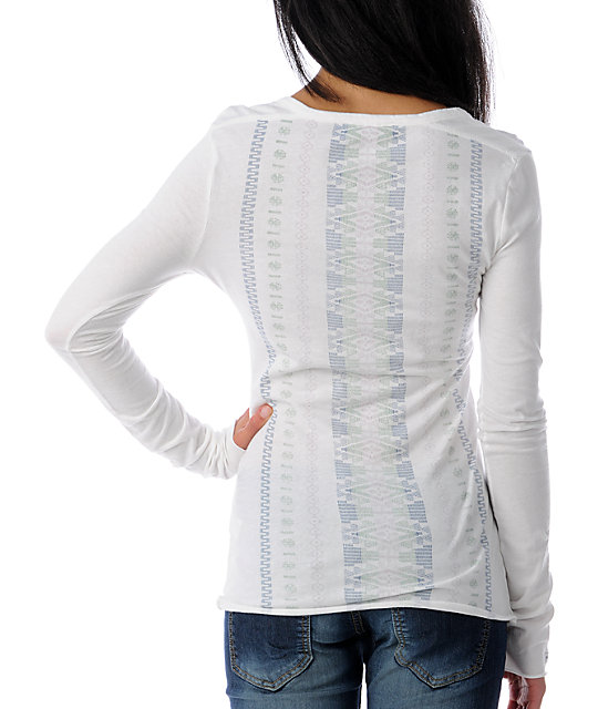 RVCA Precilla Ghost Chant White Henley