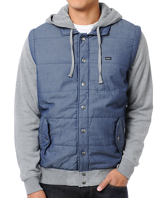 RVCA Puffer Grey & Chambray Fleece Hoodie