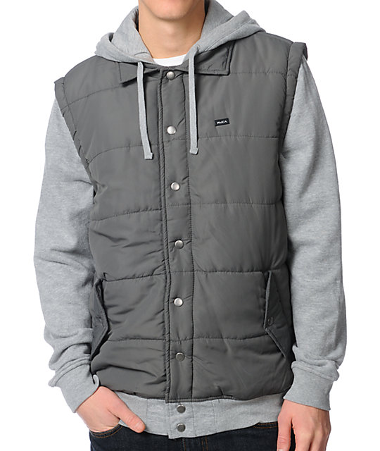 RVCA Puffer Grey & Heather Grey Vest Hoodie
