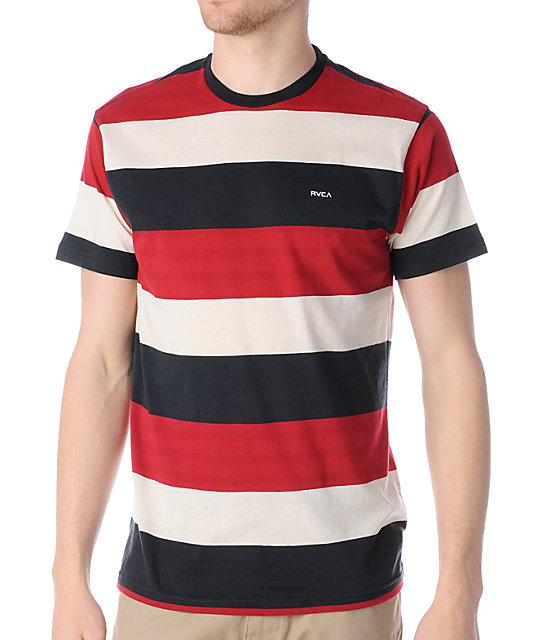 RVCA Rochambeau Navy, Red & Creme Stripe Knit T-Shirt