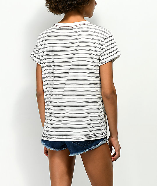 RVCA Rocket Babe White & Black Pocket T-Shirt
