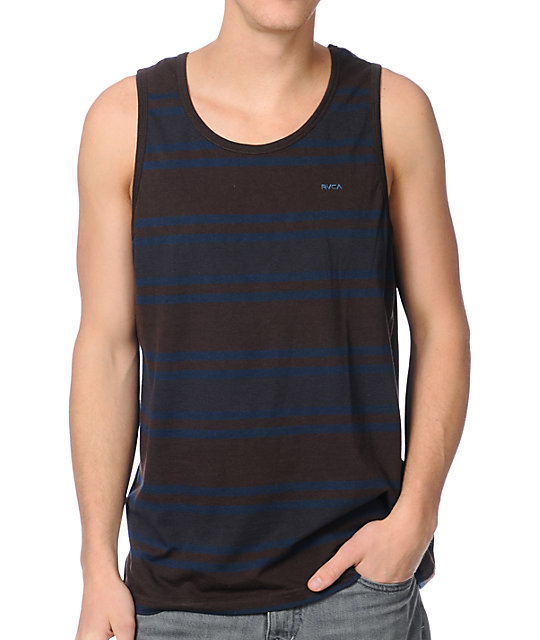 RVCA SOS Brown Striped Tank Top