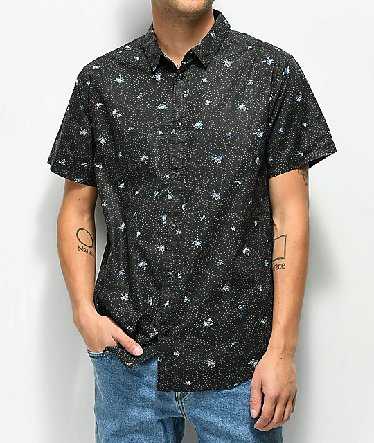 RVCA Scattered Black Short Sleeve Button Up Shirt