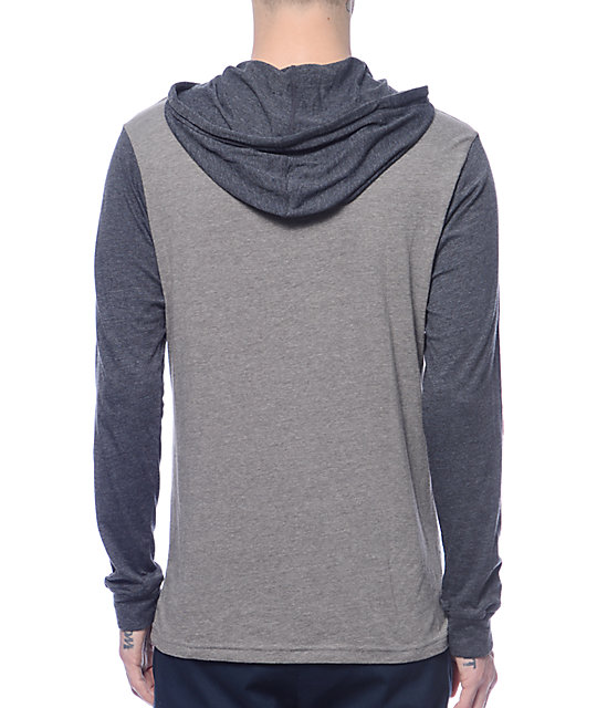 RVCA Set Up Grey & Charcoal Hooded Long Sleeve Shirt
