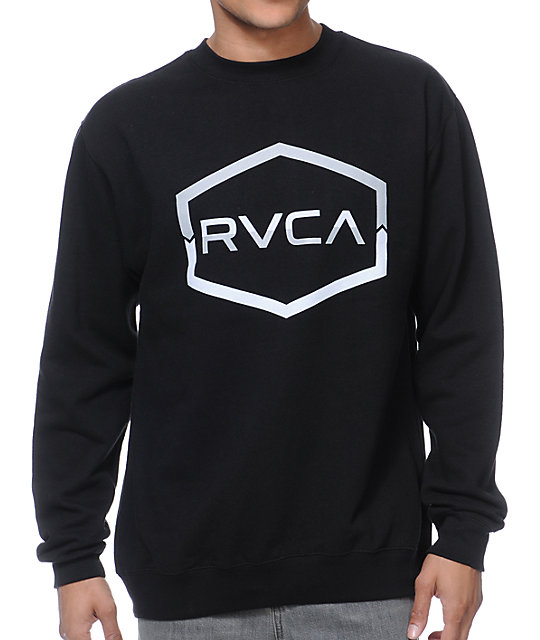 RVCA Split Chevron Black Crew Neck Sweatshirt
