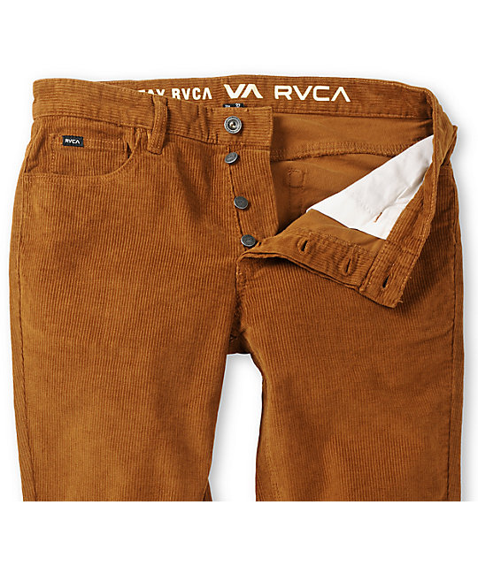 RVCA Stay Corduroy Rust Brown Slim Fit Pants