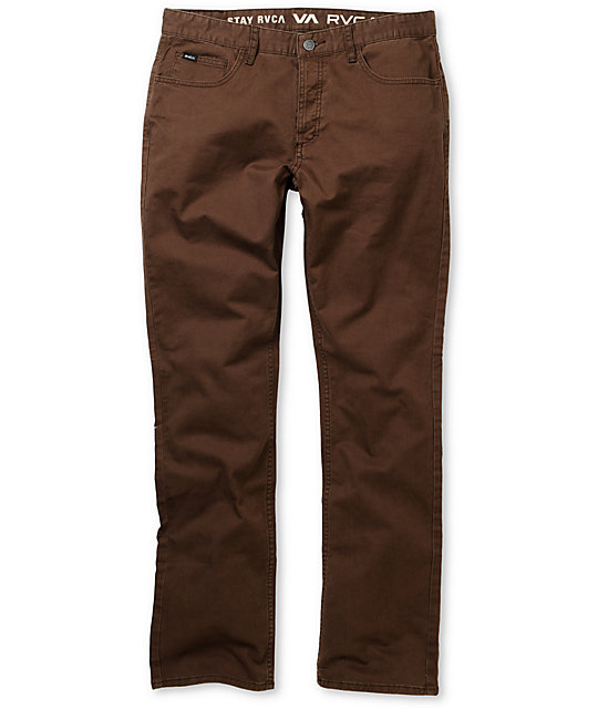 RVCA Stay Twill Stretch Slim Fit Brown Pants