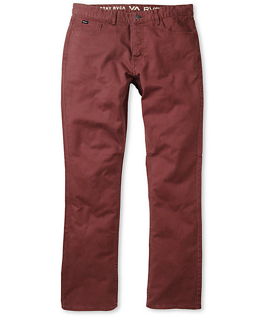 RVCA Stay Twill Stretch Slim Fit Red Pants