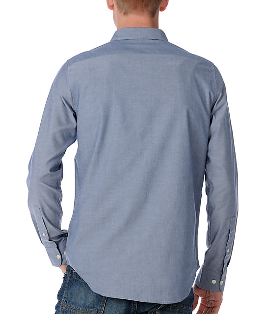 RVCA Thatll Do Blue Long Sleeve Woven Shirt