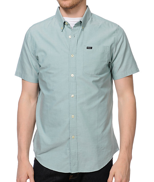 RVCA Thatll Do Green Woven Short Sleeve Button Up Shirt