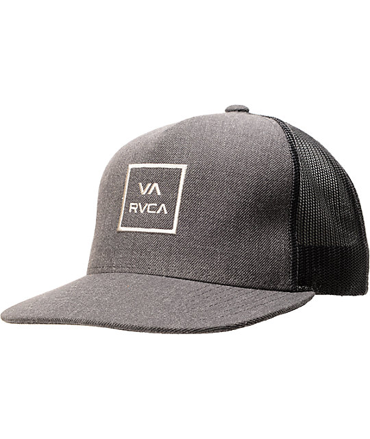 RVCA VA Sport Mens VA All The Way Trucker Snapback Hat Charcoal Gray