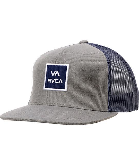 RVCA VA All The Way Grey   Navy Snapback Trucker Hat  8d7289346ca