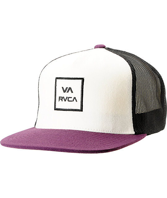 RVCA VA All The Way White & Plum Snapback Trucker Hat