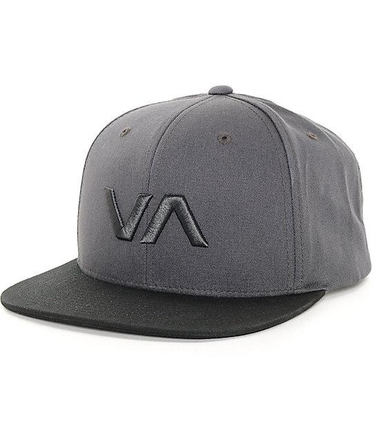 RVCA VA II gorra snapback en negro y gris ... 81ad4162eab