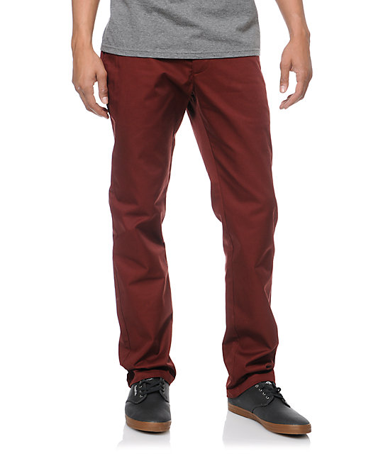 RVCA Week-End Maroon Slim Fit Twill Pants