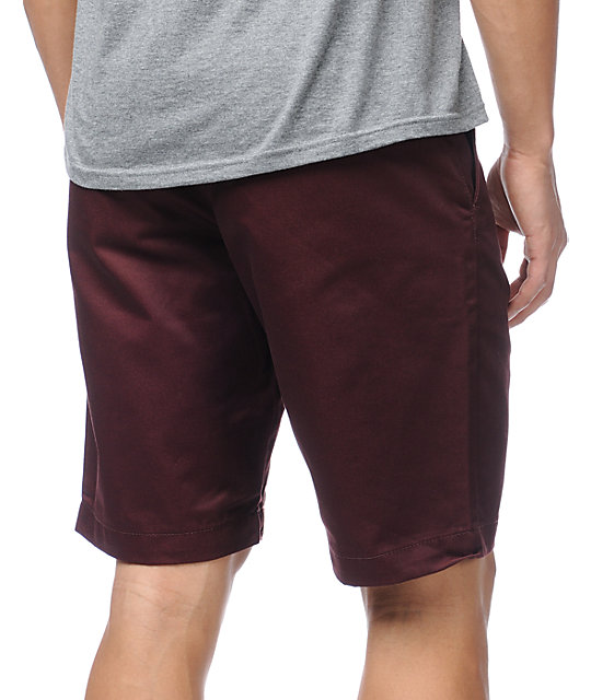 RVCA Weekender Raisin Maroon Slim Fit Chino Shorts