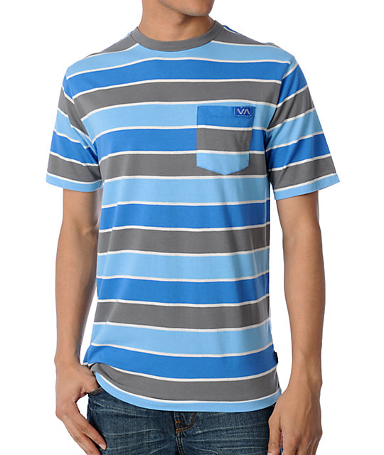 RVCA Youre In Blue & Grey Striped T-Shirt