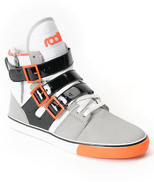 Radii Shoes Straight Jacket Grey & Infrared Leather High Top Shoes