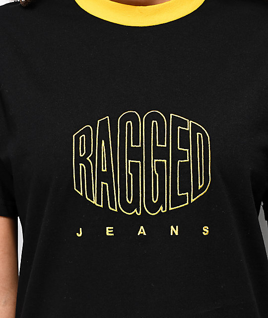 Ragged Jeans Embroidery Black & Yellow T-Shirt