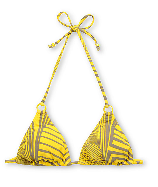 Raisins Shaka Love Yellow Triangle Bikini Top