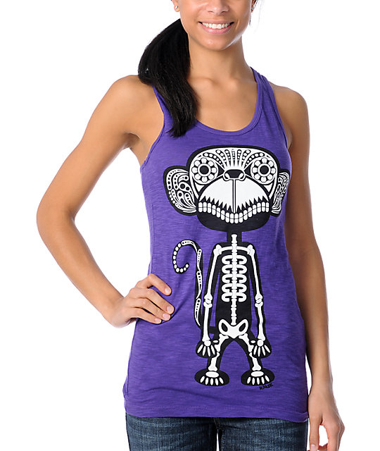 Ralik Monkey Bones 2 Purple Tank Top