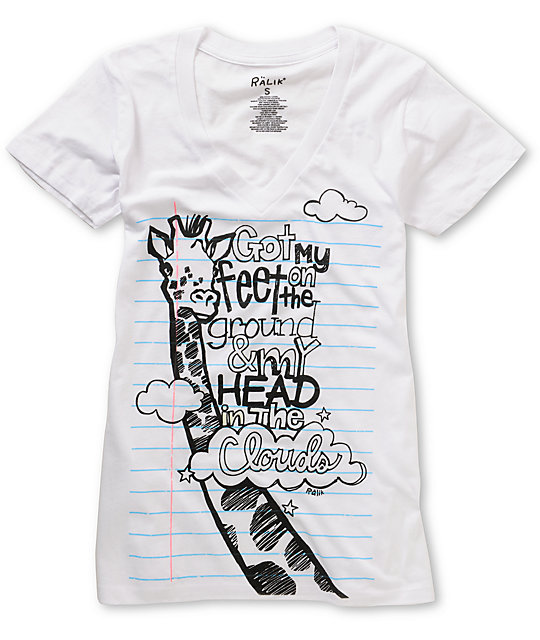 Ralik Notebook Head In The Clouds White V-neck T-Shirt
