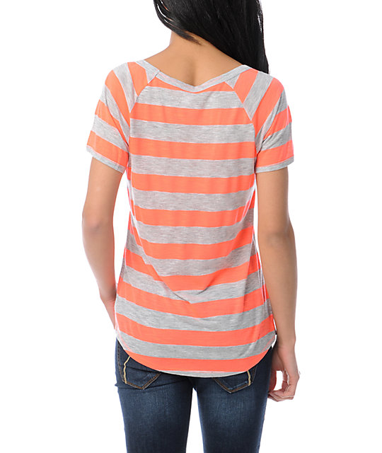 Ralik Wham! Neon Coral Striped T-Shirt
