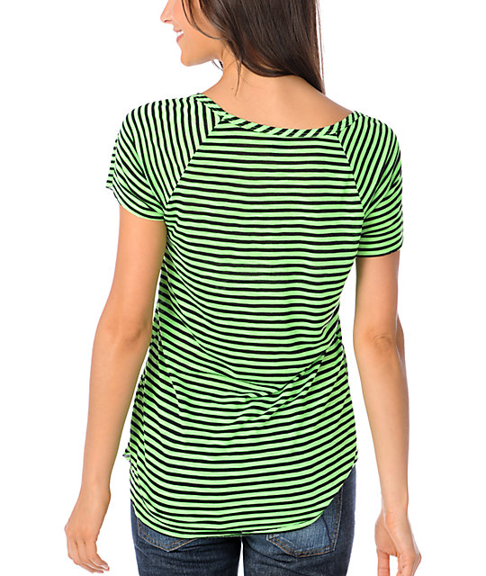 Ralik Wham! Neon Green Striped Raglan T-Shirt