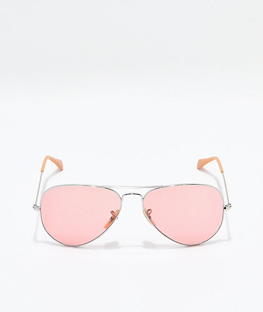 Ray-Ban Aviator Evolve Gold & Pink Polarized Sunglasses
