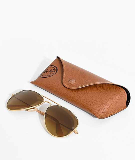 ray ban aviator golden tan sunglasses