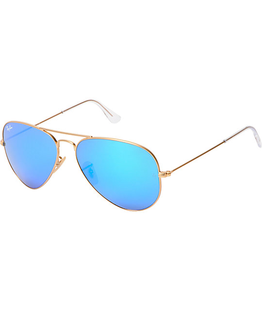 7c9571713 Ray-Ban Aviator Matte Gold & Blue Mirror Large Sunglasses | Zumiez