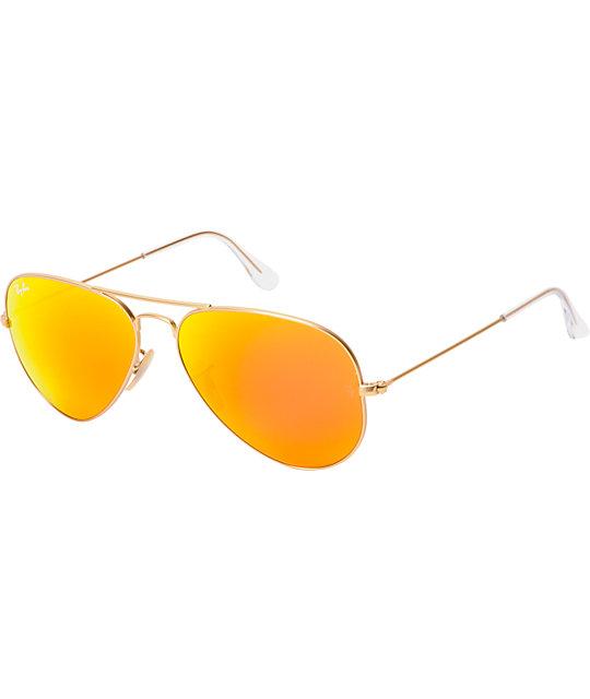 1f182cf9355 Ray-Ban Aviator Matte Gold   Orange Mirror Large Sunglasses