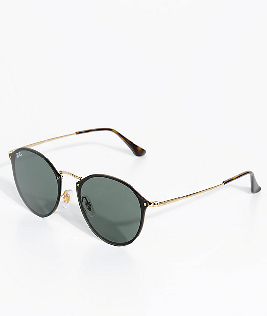 Ray Ban Blaze Black Gold Round Sunglasses
