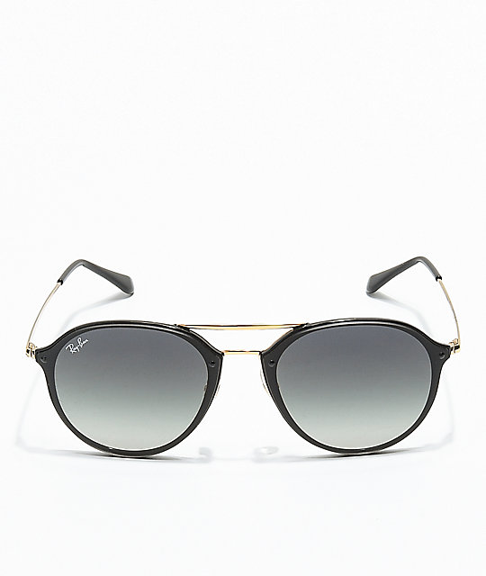 9232b64a48 ... Ray-Ban Blaze Double Bridge Black   Gold Sunglasses