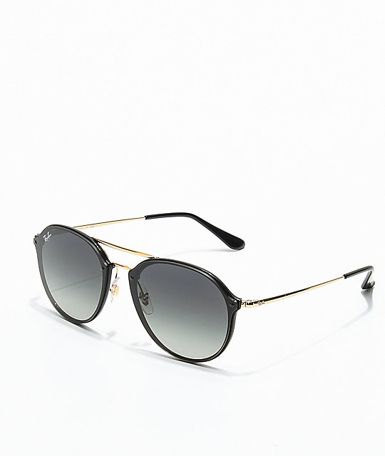 Ray-Ban Blaze Double Bridge Black & Gold Sunglasses