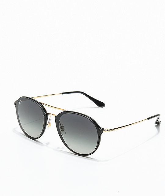 Ray Ban Blaze Double Bridge Black Gold Sunglasses