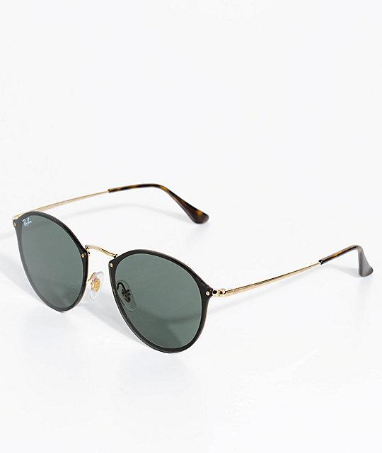 entrega gratis recoger forma elegante Ray-Ban Blaze gafas de sol redondas en negro y oro