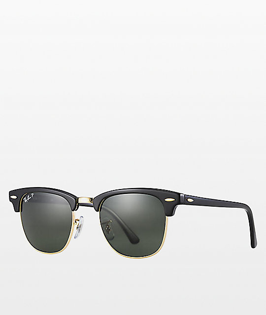 46f22f4057 Ray-Ban Clubmaster Black   Gold Polarized Sunglasses