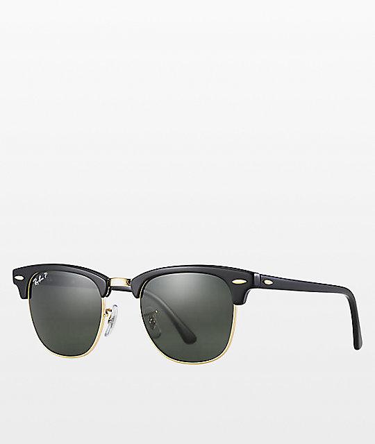 Ray Ban Clubmaster Black Gold Polarized Sunglasses