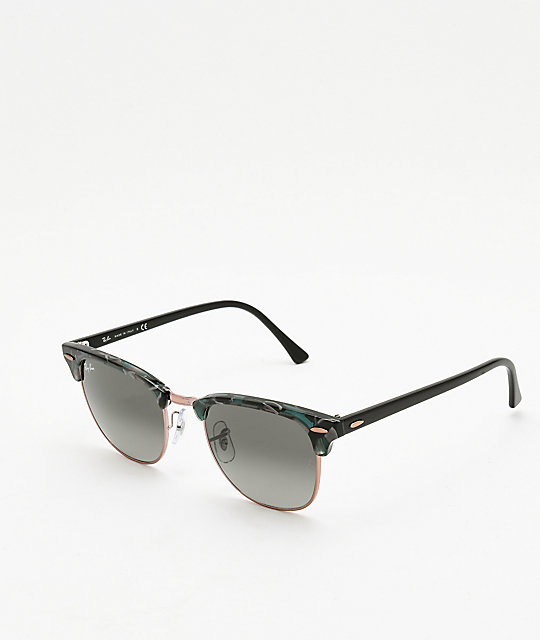Ray-Ban Clubmaster Spotted Grey & Green Sunglasses