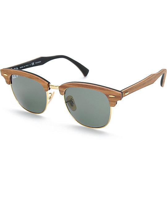 d3e4c4cf35 Ray-Ban Clubmaster Wood Polarized Sunglasses